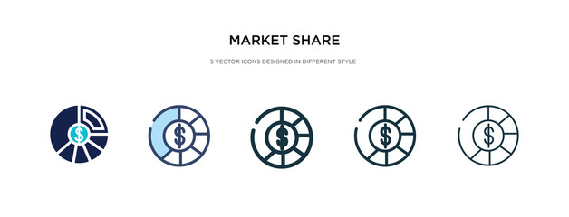 market share icon in different style vector illustration. two colored and black market share vector icons designed in filled, outline, line and stroke style can be used for web, mobile, ui