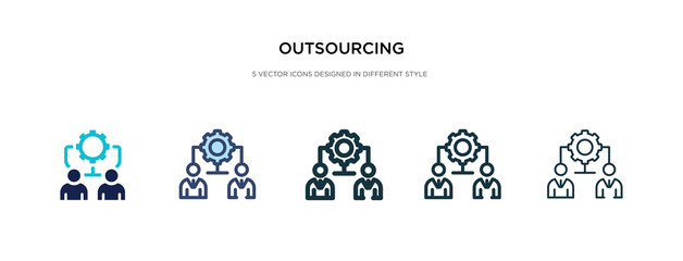outsourcing icon in different style vector illustration. two colored and black outsourcing vector icons designed in filled, outline, line and stroke style can be used for web, mobile, ui