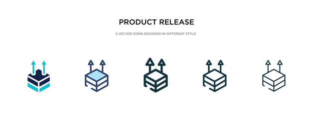 Fototapeta product release icon in different style vector illustration. two colored and black product release vector icons designed in filled, outline, line and stroke style can be used for web, mobile, ui obraz