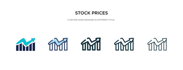 stock prices icon in different style vector illustration. two colored and black stock prices vector icons designed in filled, outline, line and stroke style can be used for web, mobile, ui