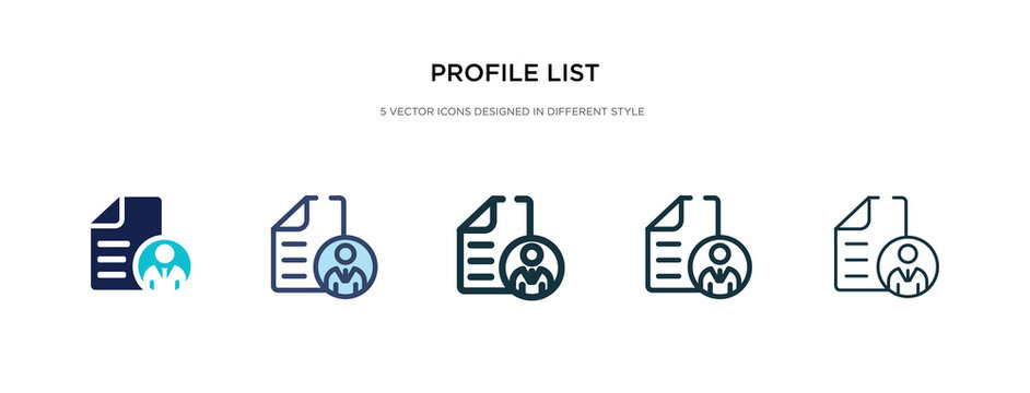 profile list icon in different style vector illustration. two colored and black profile list vector icons designed in filled, outline, line and stroke style can be used for web, mobile, ui