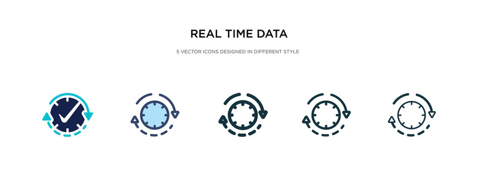 real time data icon in different style vector illustration. two colored and black real time data vector icons designed in filled, outline, line and stroke style can be used for web, mobile, ui