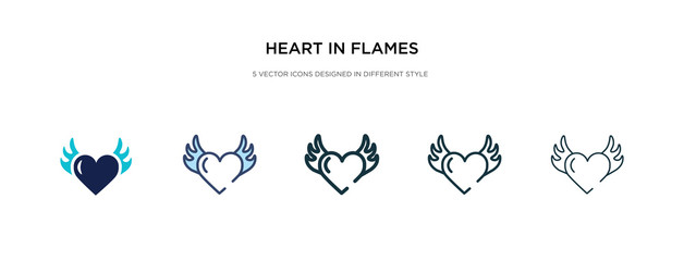 heart in flames icon in different style vector illustration. two colored and black heart in flames vector icons designed filled, outline, line and stroke style can be used for web, mobile, ui
