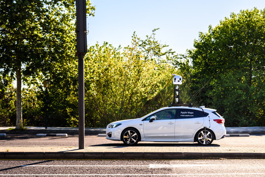 Valencia, Spain - April 9, 2019: Apple Maps car mapping roads, gathering data to use it in its own application creating 3-D map view to beat its competitor Google maps.