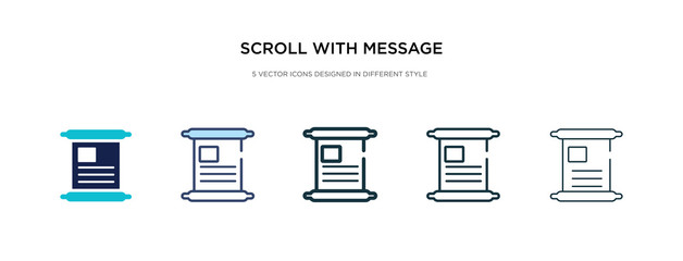scroll with message inside icon in different style vector illustration. two colored and black scroll with message inside vector icons designed in filled, outline, line and stroke style can be used