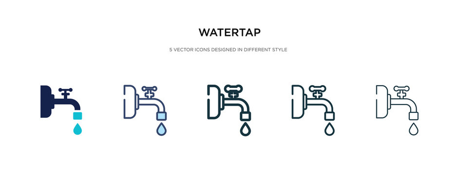 watertap icon in different style vector illustration. two colored and black watertap vector icons designed in filled, outline, line and stroke style can be used for web, mobile, ui