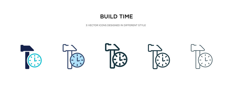 build time icon in different style vector illustration. two colored and black build time vector icons designed in filled, outline, line and stroke style can be used for web, mobile, ui