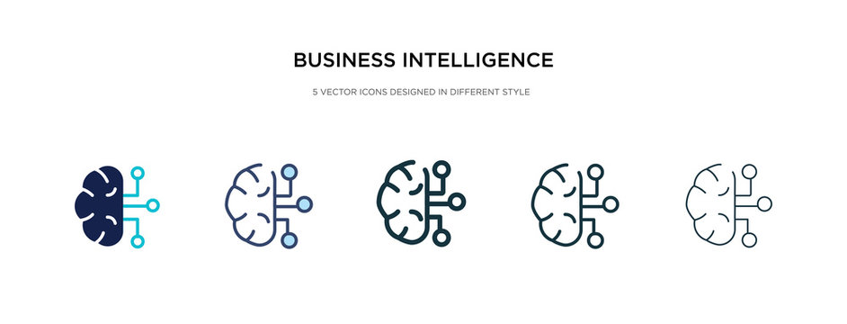 business intelligence icon in different style vector illustration. two colored and black business intelligence vector icons designed in filled, outline, line and stroke style can be used for web,