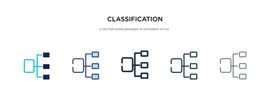 classification icon in different style vector illustration. two colored and black classification vector icons designed in filled, outline, line and stroke style can be used for web, mobile, ui