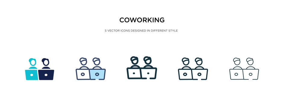 coworking icon in different style vector illustration. two colored and black coworking vector icons designed in filled, outline, line and stroke style can be used for web, mobile, ui