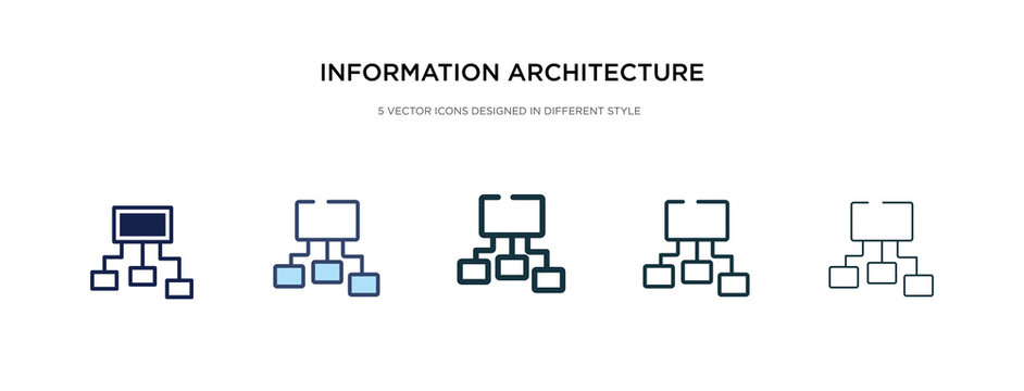 information architecture icon in different style vector illustration. two colored and black information architecture vector icons designed in filled, outline, line and stroke style can be used for