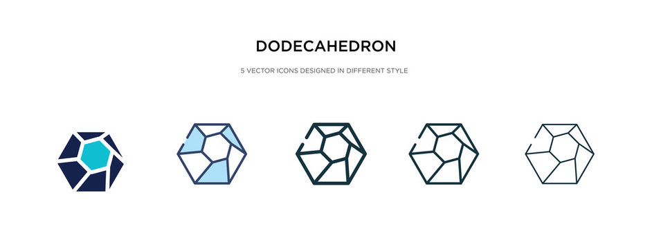 dodecahedron icon in different style vector illustration. two colored and black dodecahedron vector icons designed in filled, outline, line and stroke style can be used for web, mobile, ui