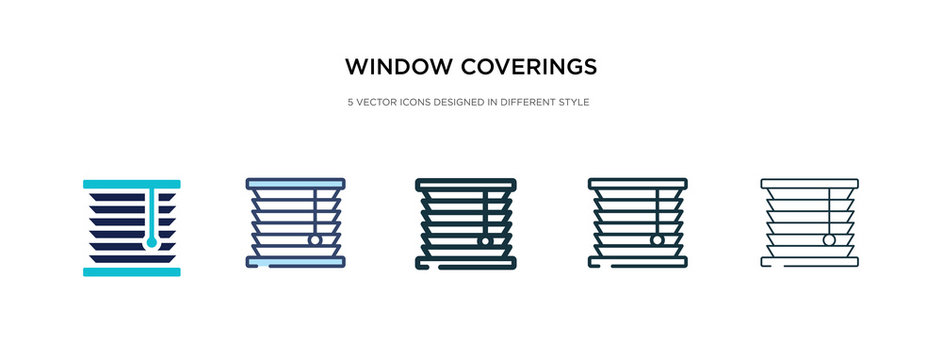 window coverings icon in different style vector illustration. two colored and black window coverings vector icons designed in filled, outline, line and stroke style can be used for web, mobile, ui