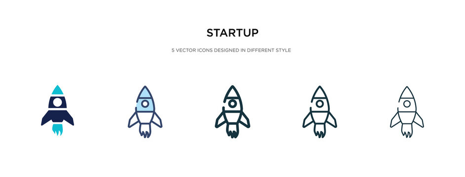 startup icon in different style vector illustration. two colored and black startup vector icons designed in filled, outline, line and stroke style can be used for web, mobile, ui