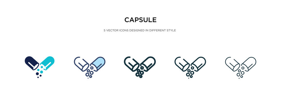 capsule icon in different style vector illustration. two colored and black capsule vector icons designed in filled, outline, line and stroke style can be used for web, mobile, ui