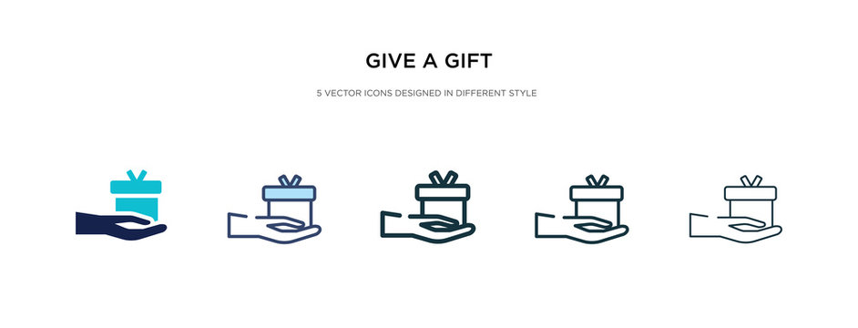 give a gift icon in different style vector illustration. two colored and black give a gift vector icons designed in filled, outline, line and stroke style can be used for web, mobile, ui
