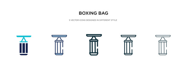 boxing bag icon in different style vector illustration. two colored and black boxing bag vector icons designed in filled, outline, line and stroke style can be used for web, mobile, ui