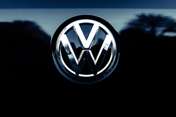 Valencia, Spain - January 13, 2019: Logo of the car manufacturer Volkswagenin a parked vehicle.