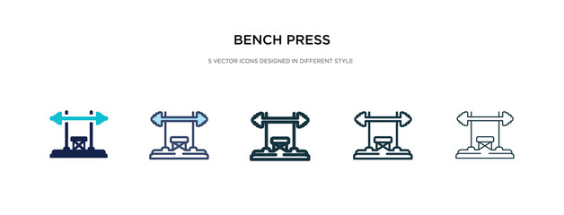 bench press icon in different style vector illustration. two colored and black bench press vector icons designed in filled, outline, line and stroke style can be used for web, mobile, ui