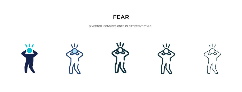 fear icon in different style vector illustration. two colored and black fear vector icons designed in filled, outline, line and stroke style can be used for web, mobile, ui