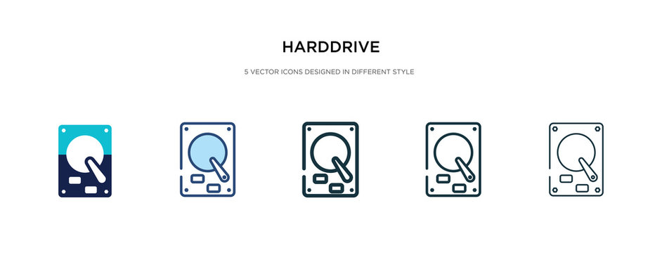 harddrive icon in different style vector illustration. two colored and black harddrive vector icons designed in filled, outline, line and stroke style can be used for web, mobile, ui