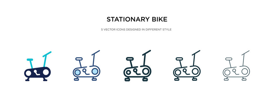 stationary bike icon in different style vector illustration. two colored and black stationary bike vector icons designed in filled, outline, line and stroke style can be used for web, mobile, ui