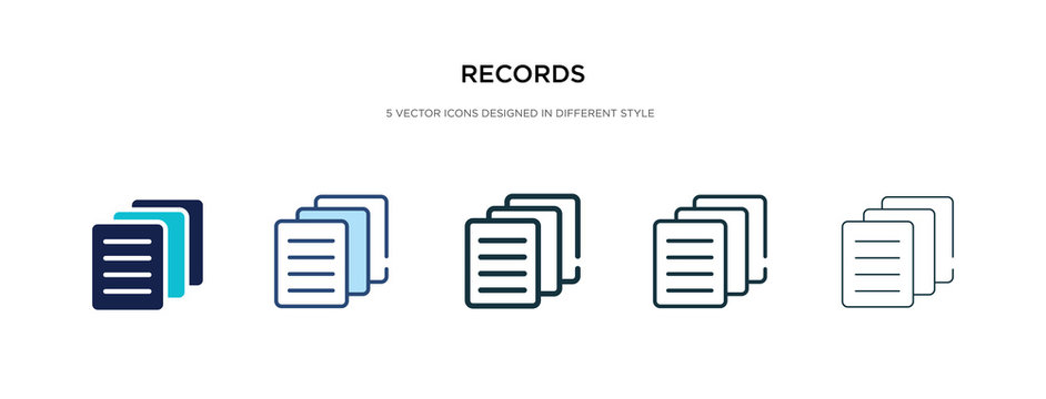 records icon in different style vector illustration. two colored and black records vector icons designed in filled, outline, line and stroke style can be used for web, mobile, ui