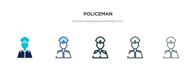 policeman icon in different style vector illustration. two colored and black policeman vector icons designed in filled, outline, line and stroke style can be used for web, mobile, ui