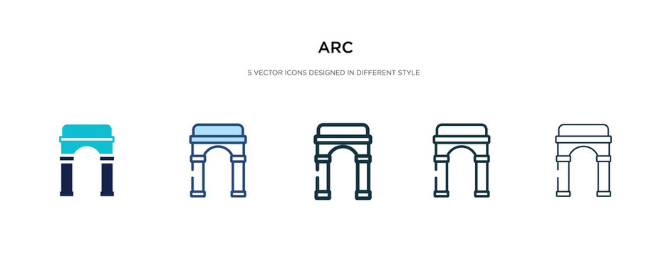arc icon in different style vector illustration. two colored and black arc vector icons designed in filled, outline, line and stroke style can be used for web, mobile, ui