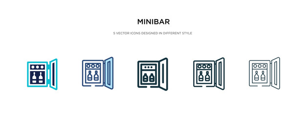 minibar icon in different style vector illustration. two colored and black minibar vector icons designed in filled, outline, line and stroke style can be used for web, mobile, ui