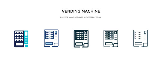 vending machine icon in different style vector illustration. two colored and black vending machine vector icons designed in filled, outline, line and stroke style can be used for web, mobile, ui
