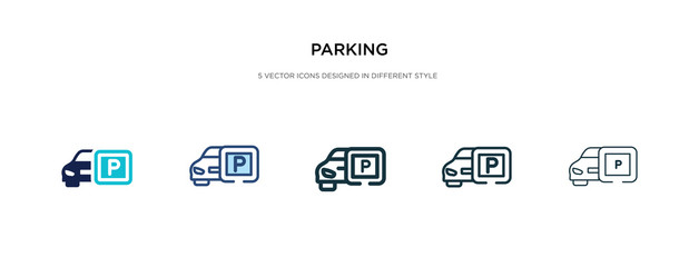 parking icon in different style vector illustration. two colored and black parking vector icons designed in filled, outline, line and stroke style can be used for web, mobile, ui