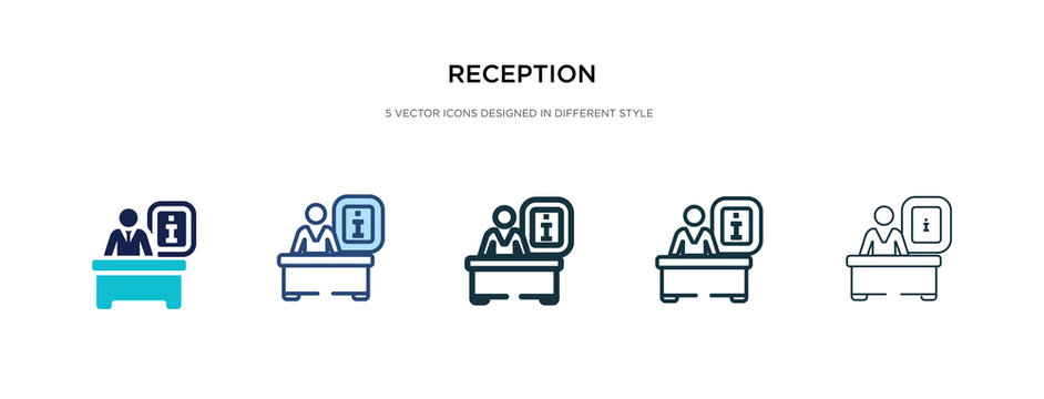 reception icon in different style vector illustration. two colored and black reception vector icons designed in filled, outline, line and stroke style can be used for web, mobile, ui