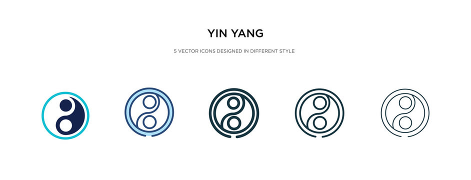 yin yang icon in different style vector illustration. two colored and black yin yang vector icons designed in filled, outline, line and stroke style can be used for web, mobile, ui