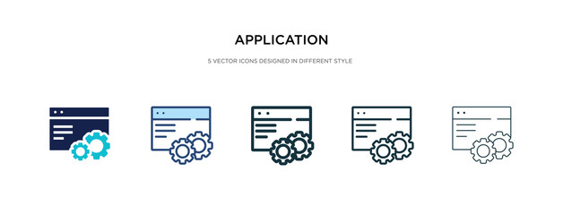 application icon in different style vector illustration. two colored and black application vector icons designed in filled, outline, line and stroke style can be used for web, mobile, ui Fototapete