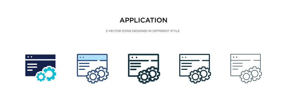 application icon in different style vector illustration. two colored and black application vector icons designed in filled, outline, line and stroke style can be used for web, mobile, ui
