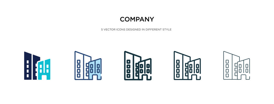 company icon in different style vector illustration. two colored and black company vector icons designed in filled, outline, line and stroke style can be used for web, mobile, ui