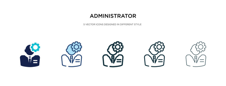 administrator icon in different style vector illustration. two colored and black administrator vector icons designed in filled, outline, line and stroke style can be used for web, mobile, ui