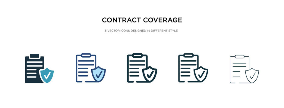 contract coverage icon in different style vector illustration. two colored and black contract coverage vector icons designed in filled, outline, line and stroke style can be used for web, mobile, ui