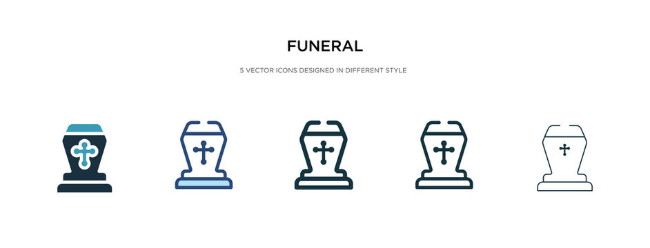 funeral icon in different style vector illustration. two colored and black funeral vector icons designed in filled, outline, line and stroke style can be used for web, mobile, ui