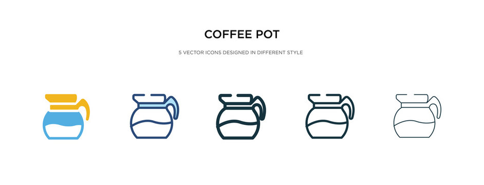 coffee pot icon in different style vector illustration. two colored and black coffee pot vector icons designed in filled, outline, line and stroke style can be used for web, mobile, ui