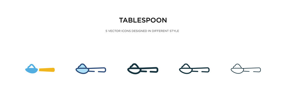 tablespoon icon in different style vector illustration. two colored and black tablespoon vector icons designed in filled, outline, line and stroke style can be used for web, mobile, ui