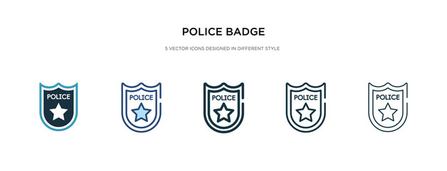 police badge icon in different style vector illustration. two colored and black police badge vector icons designed in filled, outline, line and stroke style can be used for web, mobile, ui