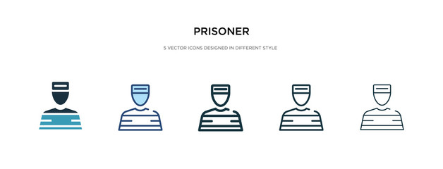 prisoner icon in different style vector illustration. two colored and black prisoner vector icons designed in filled, outline, line and stroke style can be used for web, mobile, ui