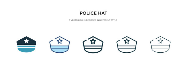 police hat icon in different style vector illustration. two colored and black police hat vector icons designed in filled, outline, line and stroke style can be used for web, mobile, ui