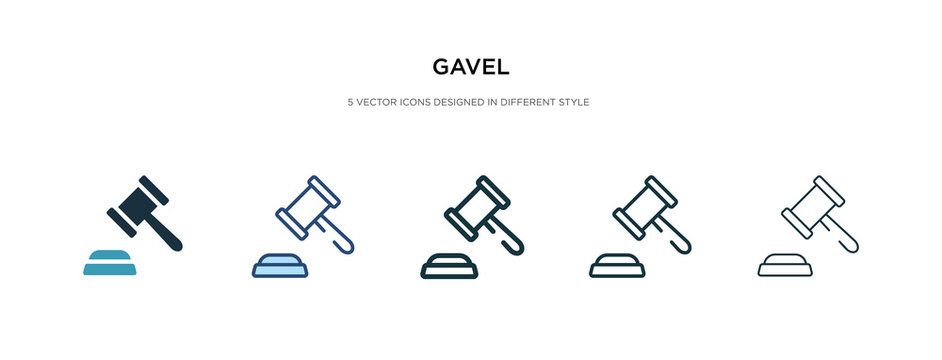 gavel icon in different style vector illustration. two colored and black gavel vector icons designed in filled, outline, line and stroke style can be used for web, mobile, ui