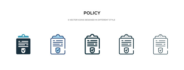 policy icon in different style vector illustration. two colored and black policy vector icons designed in filled, outline, line and stroke style can be used for web, mobile, ui