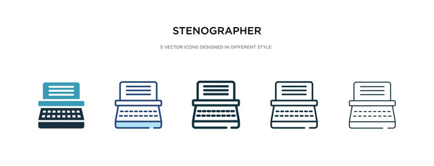 stenographer icon in different style vector illustration. two colored and black stenographer vector icons designed in filled, outline, line and stroke style can be used for web, mobile, ui