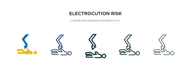 electrocution risk icon in different style vector illustration. two colored and black electrocution risk vector icons designed in filled, outline, line and stroke style can be used for web, mobile,