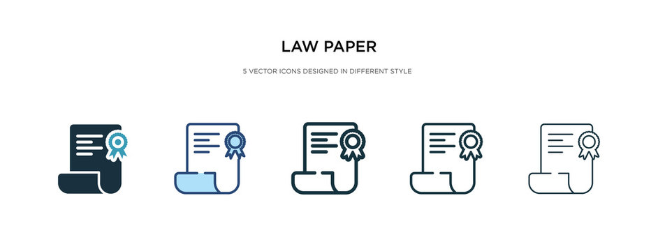 law paper icon in different style vector illustration. two colored and black law paper vector icons designed in filled, outline, line and stroke style can be used for web, mobile, ui